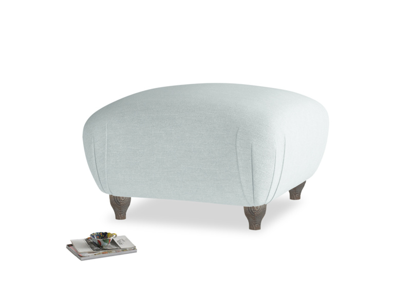 Small Square Homebody Footstool in Duck Egg vintage linen