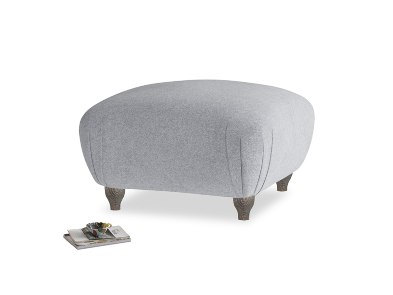 Small square footstool Homebody Footstool in Dove grey wool