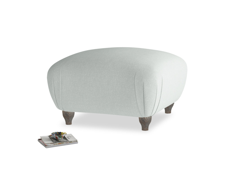 Small Square Homebody Footstool in French blue brushed cotton
