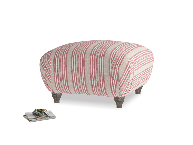 Small Square Homebody Footstool in Red french stripe