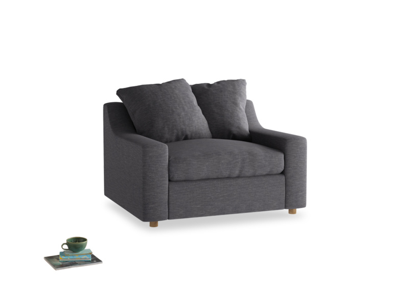 Cloud love seat sofa bed in Lead cotton mix