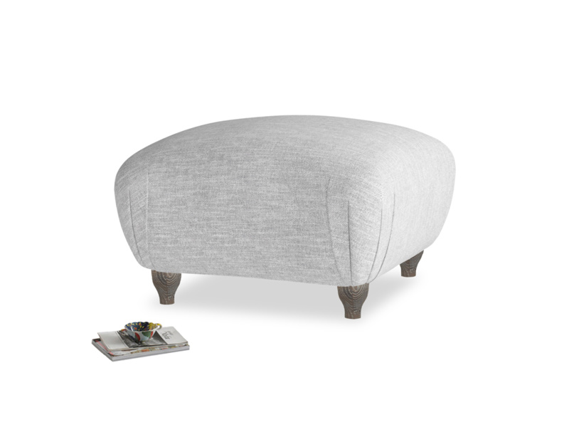 Small square footstool Homebody Footstool in Mist cotton mix
