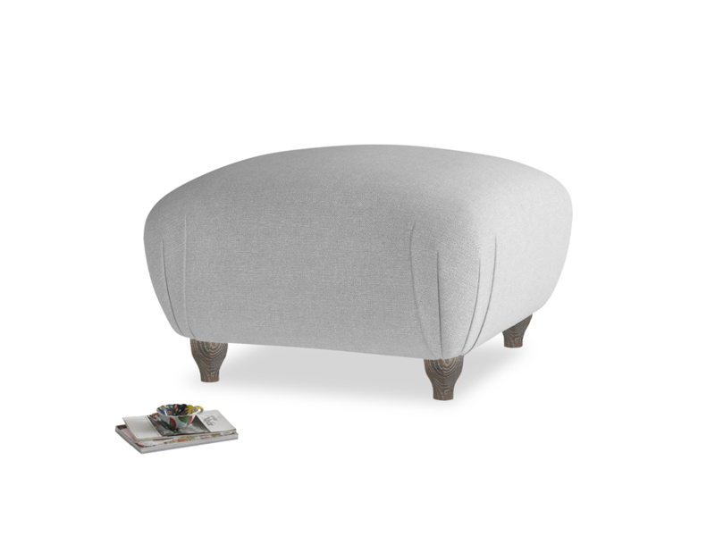 Small Square Homebody Footstool in Magnesium washed cotton linen