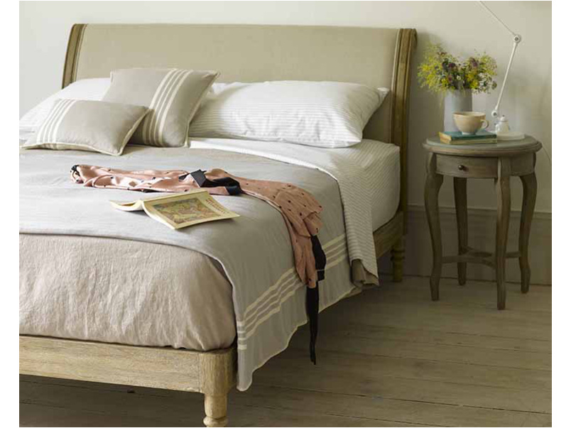 French style vintage kingsize Darcy bed with upholstered headboard