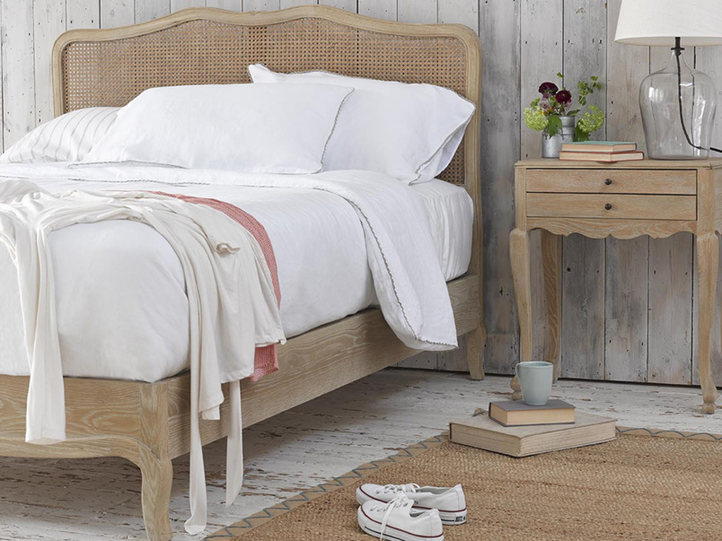 French vintage style Margot bed with rattan headboard hand woven with wooden frame