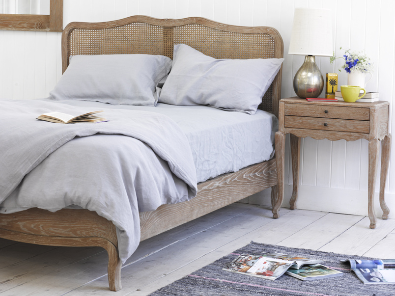 French vintage style Margot rattan bed handmade in solid weathered oak