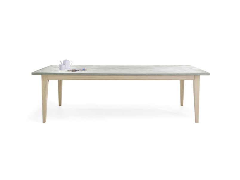 Conker lightweight concrete kitchen table with oak legs