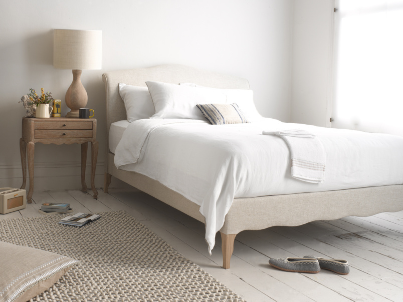 Luxury Frenchie upholstered French bed handmade in Britain