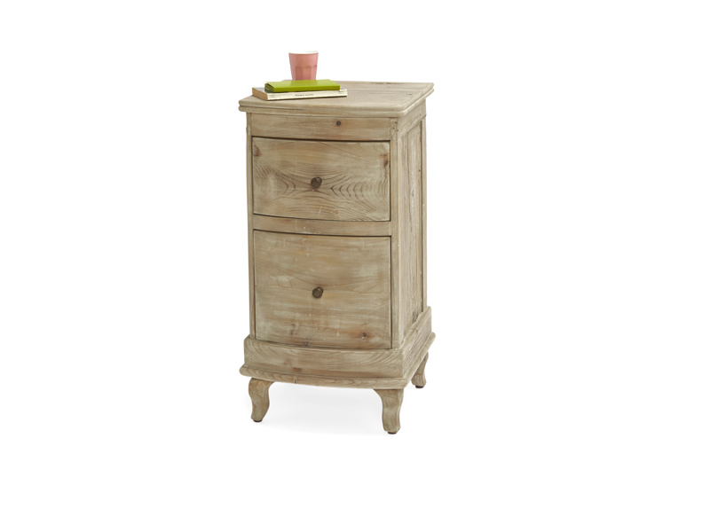 French style Bastille bedside table with vintage bronze knobs handmade from solid fir
