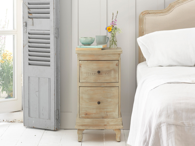 Bastille french style bedside table handmade from solid reclaimed fir with weathered finish