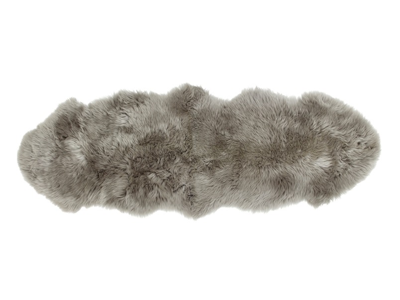 Nuzzler grey small fur fluffy sheepskin runner