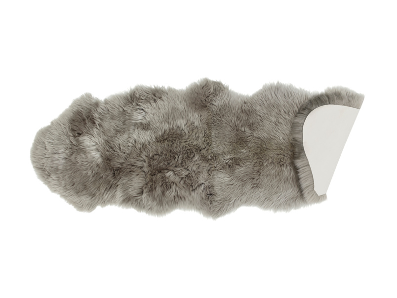 Small sheepskin grey Nuzzler fur fluffy runner