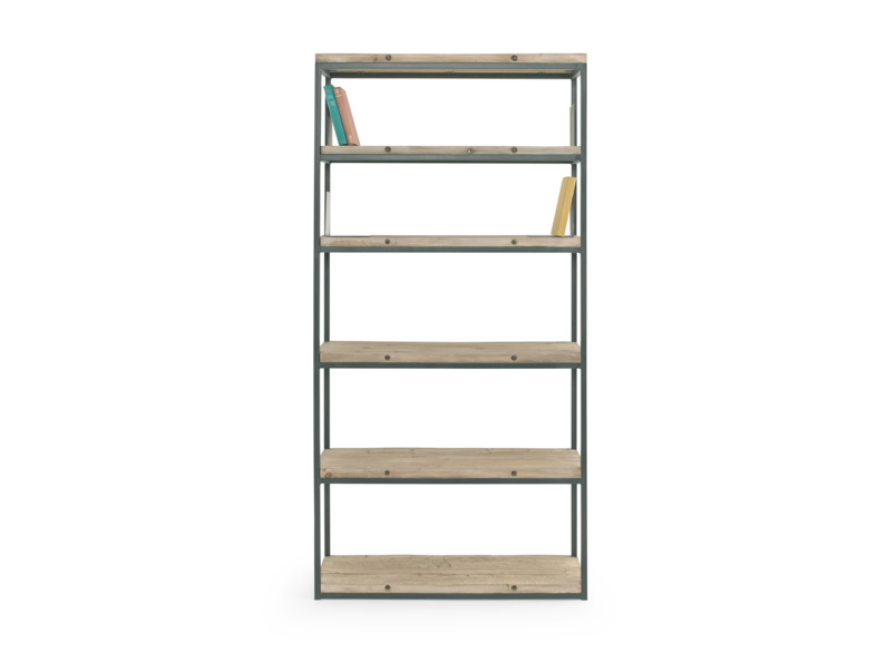High Five wooden shelving unit with beached timber finish