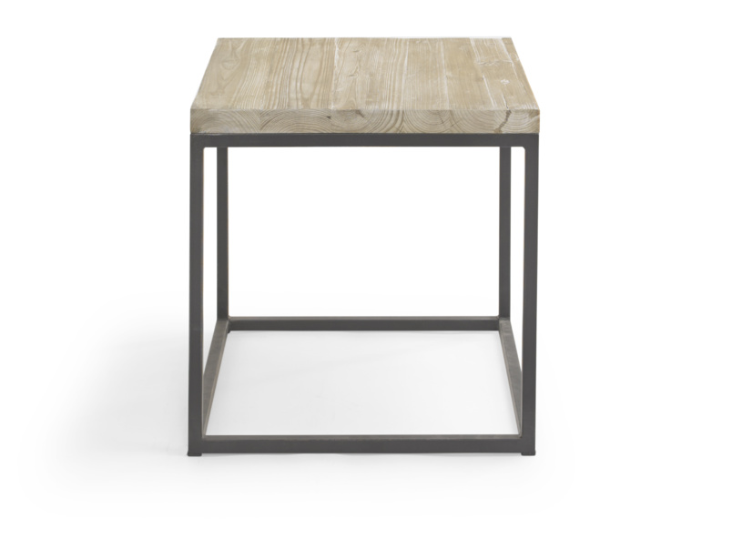 Industrial style reclaimed wooden and metal Postino side table