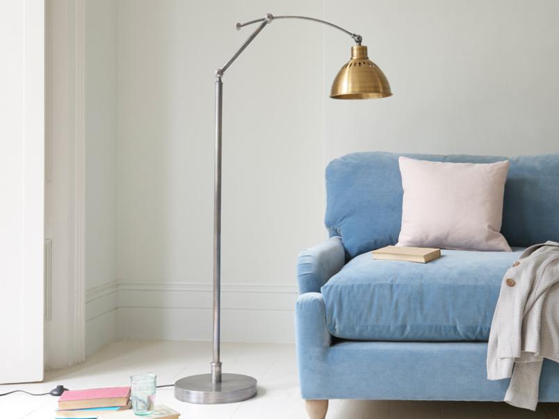 Adjustable vintage Loco brass floor lamp