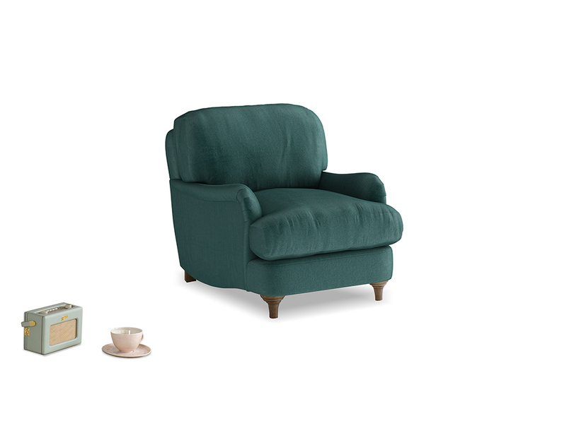 Jonesy Armchair in Timeless teal vintage velvet