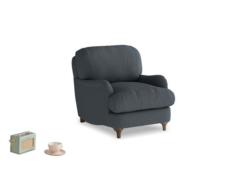 Jonesy Armchair in Lava grey clever linen