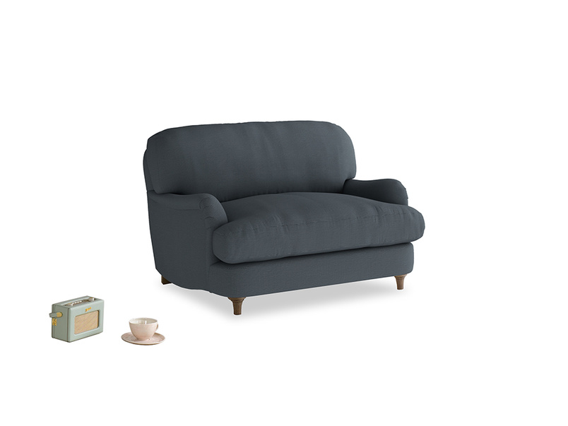 Jonesy Love seat in Lava grey clever linen