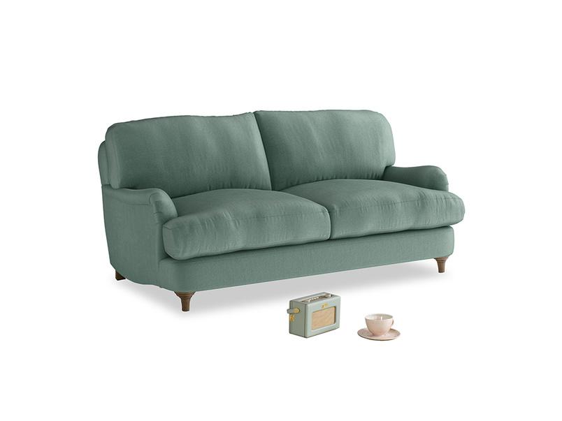 Small Jonesy Sofa in Sea blue vintage velvet