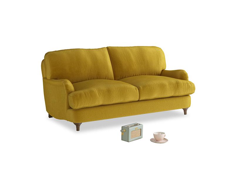 Small Jonesy Sofa in Burnt yellow vintage velvet