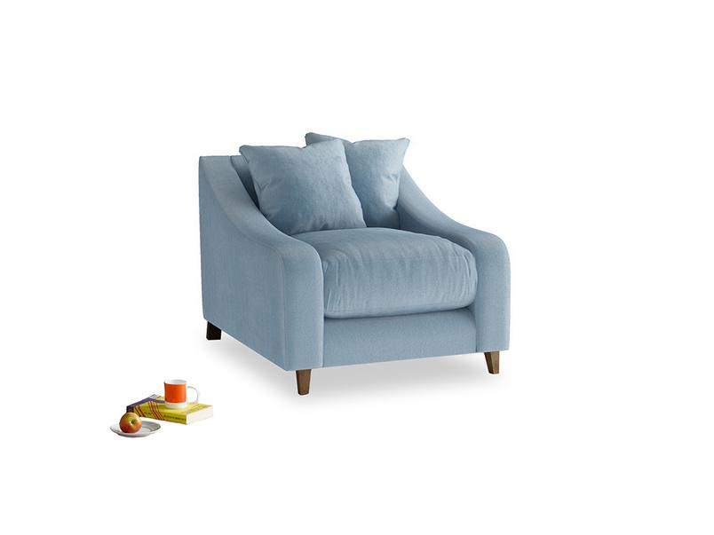 Oscar Armchair in Chalky blue vintage velvet