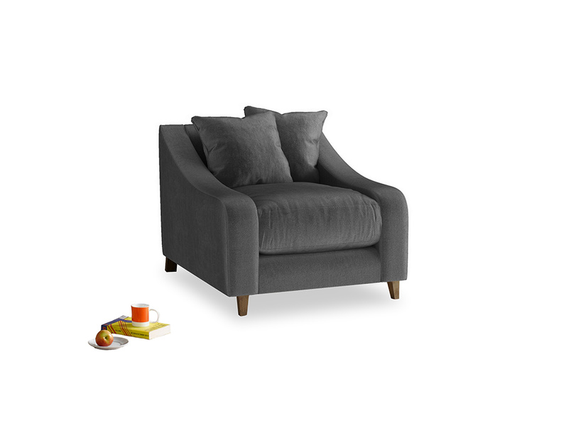Oscar Armchair in Scuttle grey vintage velvet