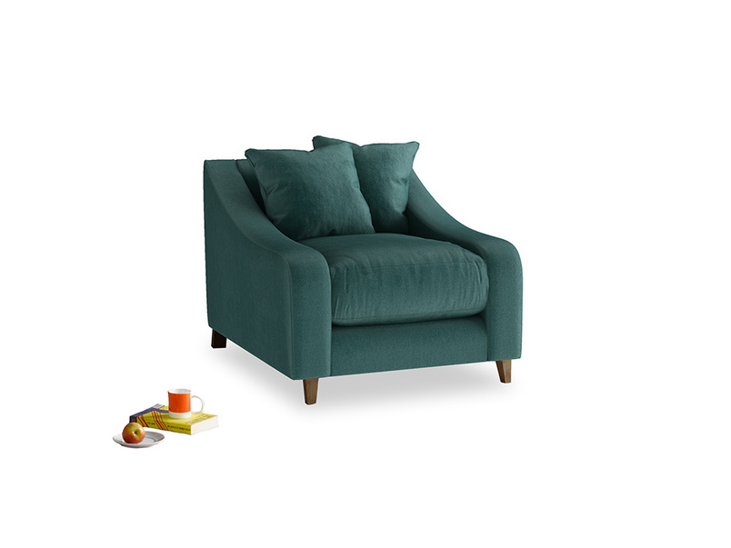 Oscar Armchair in Timeless teal vintage velvet