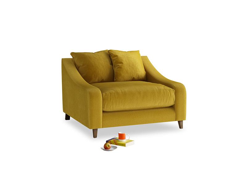 Oscar Love seat in Burnt yellow vintage velvet