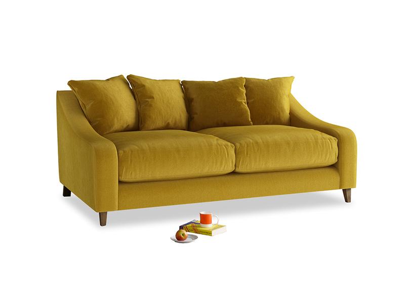 Medium Oscar Sofa in Burnt yellow vintage velvet