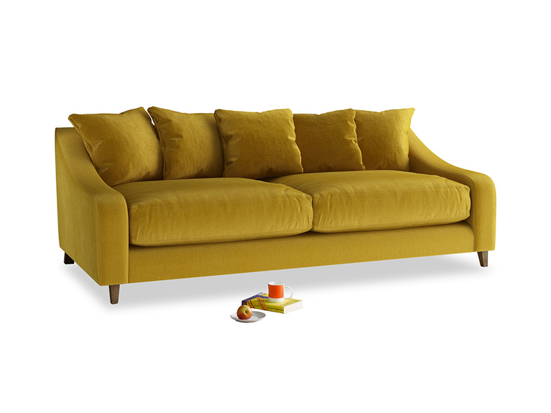 Large Oscar Sofa in Burnt yellow vintage velvet