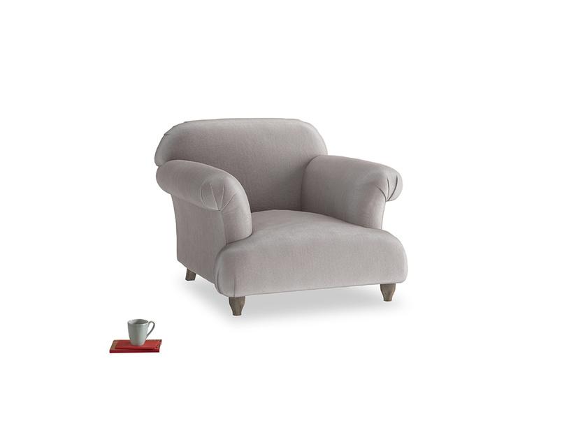 Soufflé Armchair in Soothing grey vintage velvet