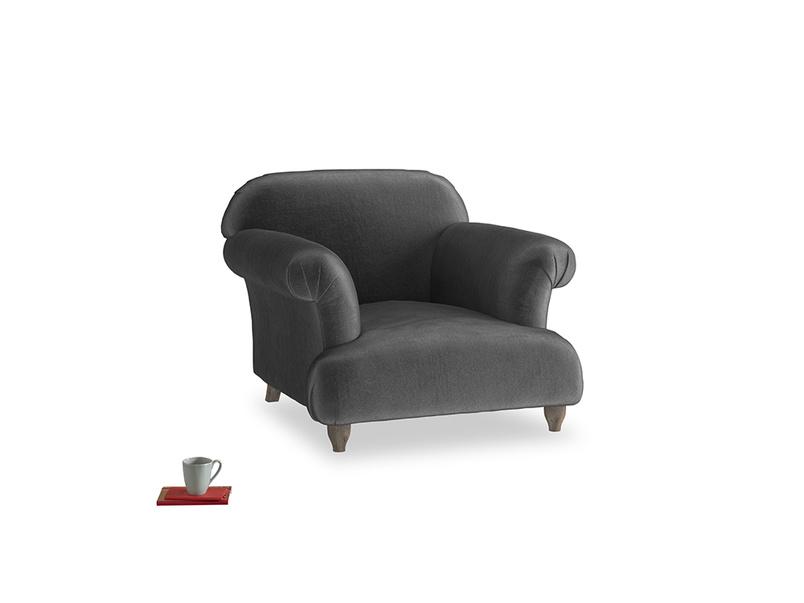 Soufflé Armchair in Scuttle grey vintage velvet