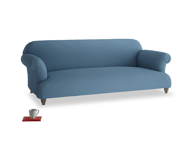 Large Soufflé Sofa in Easy blue clever linen