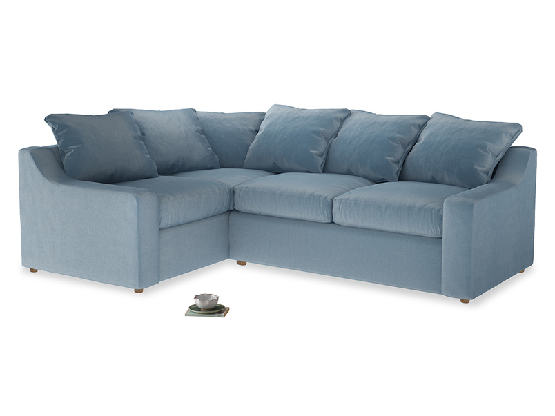 Large Left Hand Cloud Corner Sofa in Chalky blue vintage velvet