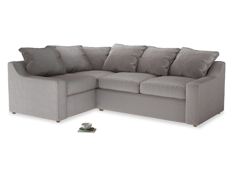 Large Left Hand Cloud Corner Sofa in Soothing grey vintage velvet