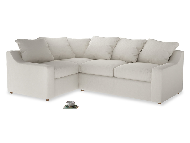 Large Left Hand Cloud Corner Sofa in Oyster white clever linen