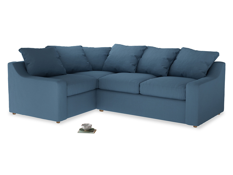 Large Left Hand Cloud Corner Sofa in Easy blue clever linen