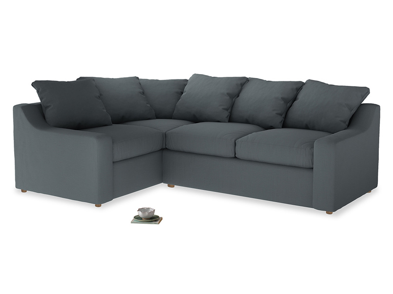 Large Left Hand Cloud Corner Sofa in Meteor grey clever linen