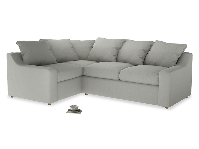 Large Left Hand Cloud Corner Sofa in Mineral grey clever linen