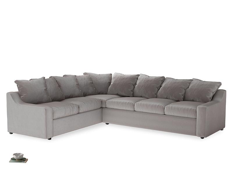 Xl Left Hand Cloud Corner Sofa in Soothing grey vintage velvet