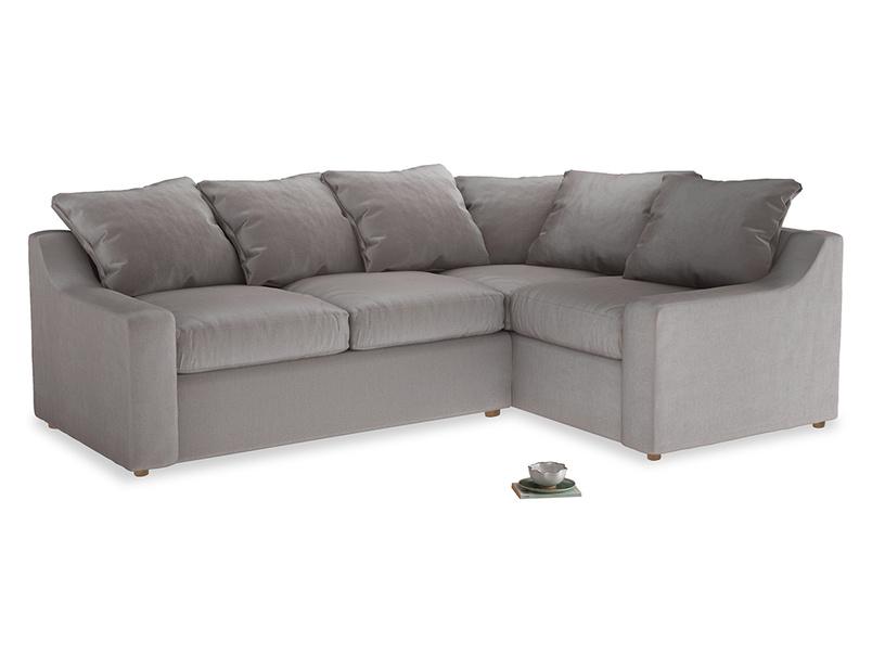 Large Right Hand Cloud Corner Sofa in Soothing grey vintage velvet