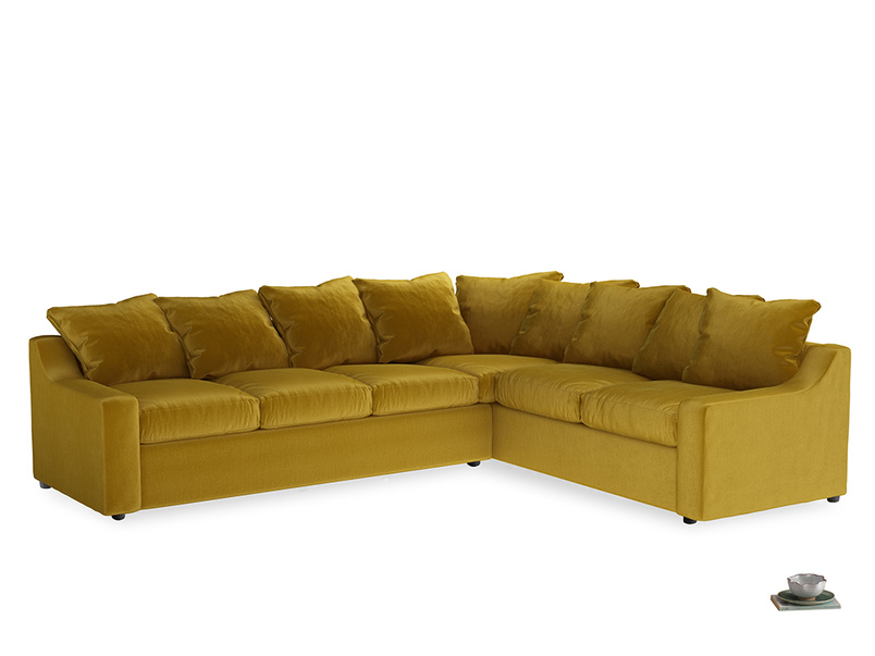 Xl Right Hand Cloud Corner Sofa in Burnt yellow vintage velvet