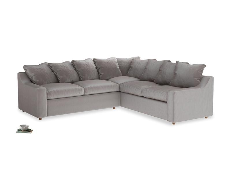 Even Sided Cloud Corner Sofa in Soothing grey vintage velvet