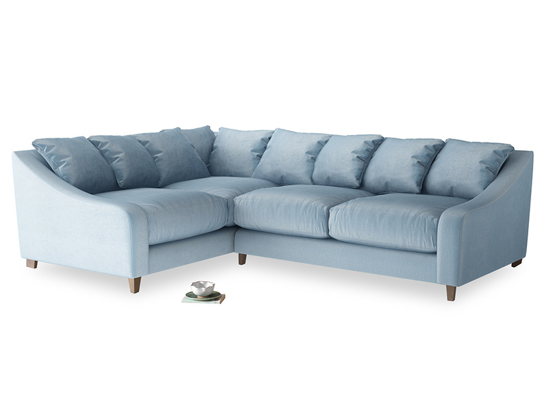 Large Left Hand Oscar Corner Sofa  in Chalky blue vintage velvet