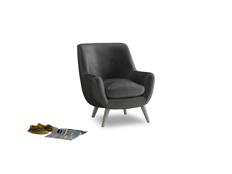 Berlin Armchair in Scuttle grey vintage velvet