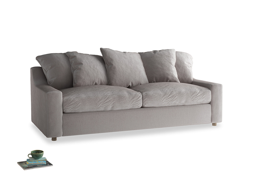 Large Cloud Sofa in Soothing grey vintage velvet