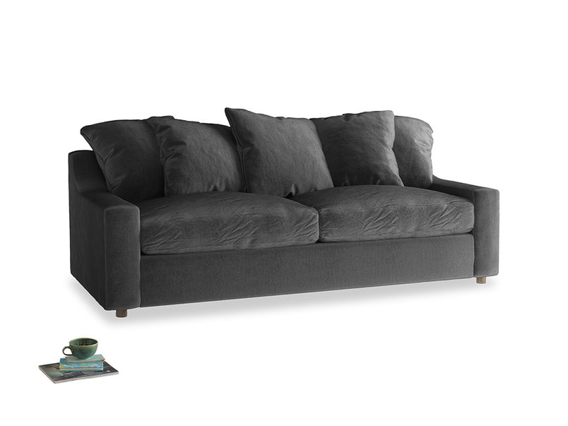 Large Cloud Sofa in Scuttle grey vintage velvet
