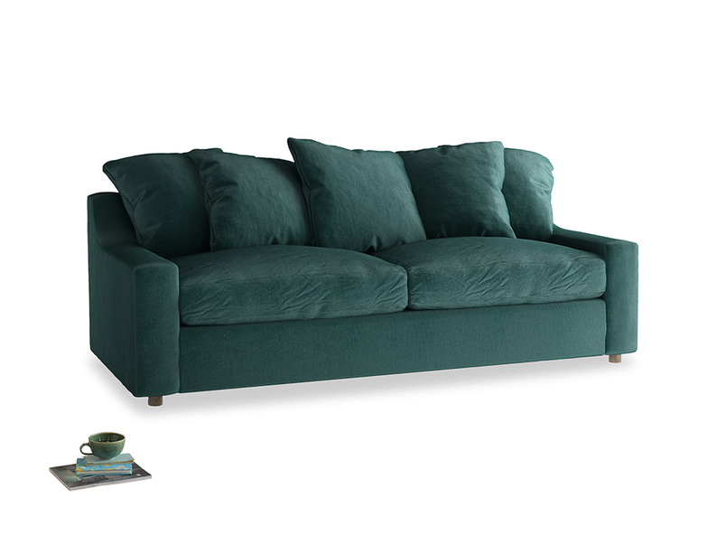 Large Cloud Sofa in Timeless teal vintage velvet