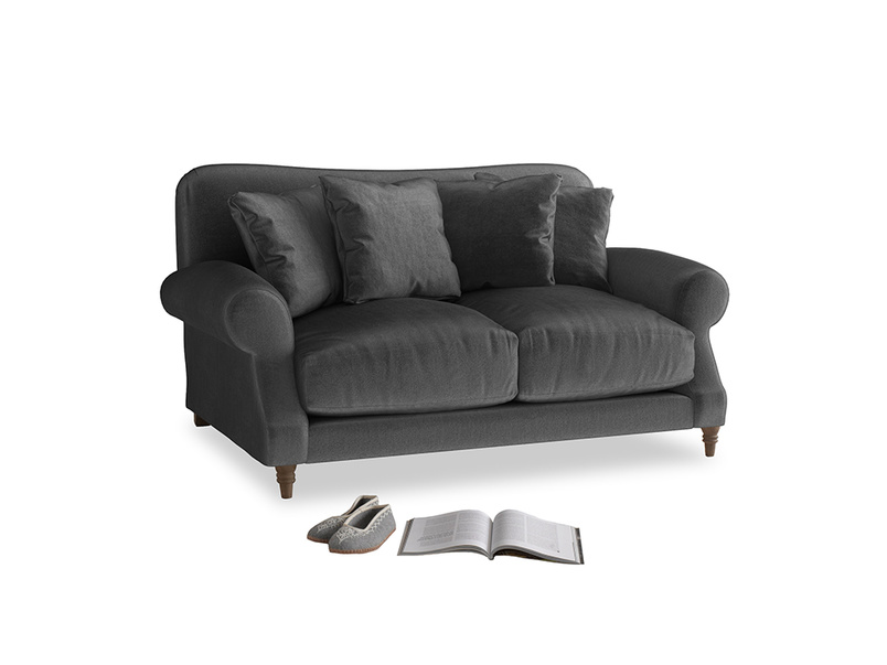 Small Crumpet Sofa in Scuttle grey vintage velvet