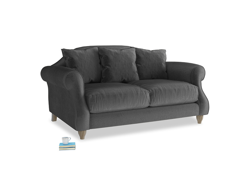 Small Sloucher Sofa in Scuttle grey vintage velvet